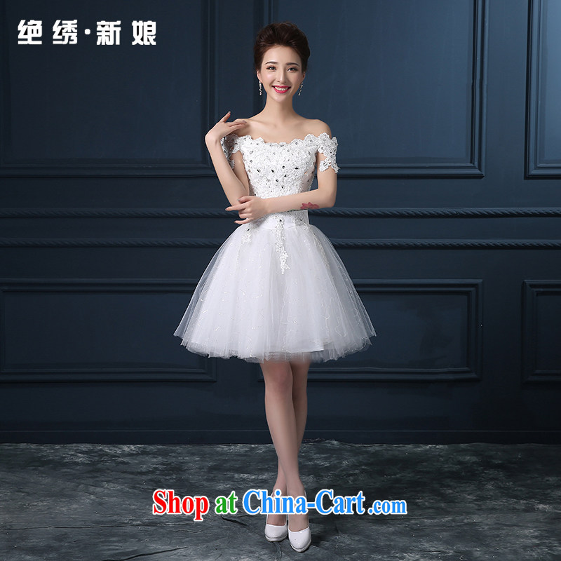 2015 spring and summer new Korean version the Field shoulder the code graphics thin short bridal banquet night beauty bridesmaid dresses small white set is not returned.