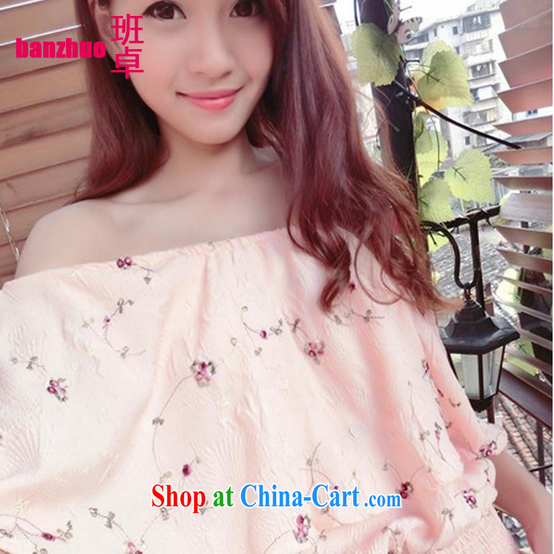 Class Cheuk-yan 2015 Korean summer New Field shoulder the shoulder cherry blossoms (Sakura) cool the waist girls stylish shirt pale pink