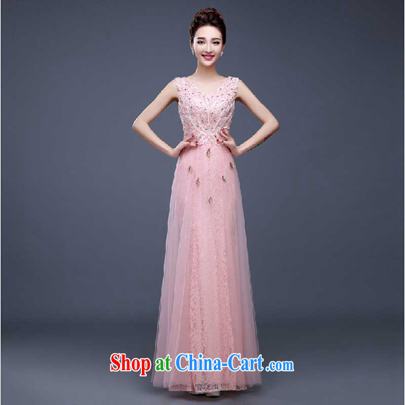 Evening Dress 2015 new summer short banquet dress dress girl bride toast wedding clothes stylish field shoulder pink M