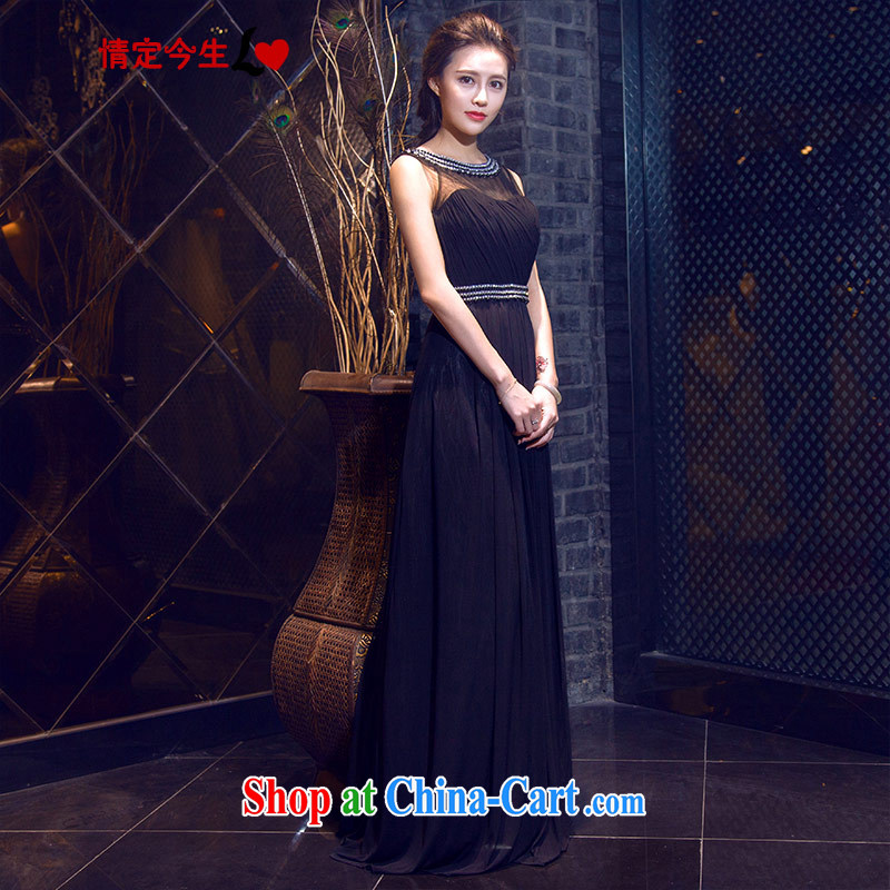 Love Life and elegant parquet drilling 2015 summer New Field shoulder-neck black long dresses banquet dress wedding dress uniform toast black XXL