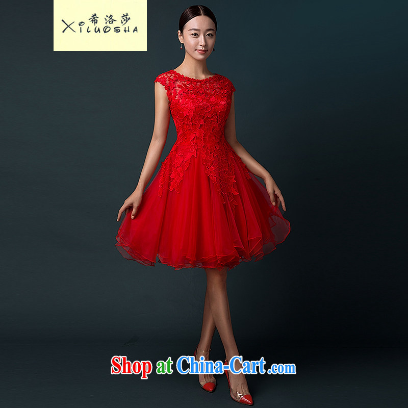 The Greek, Elizabeth (XILUOSHA) bridal gown short wedding toast service summer 2015 new marriage small red dress girl lace evening dress skirt red XXL