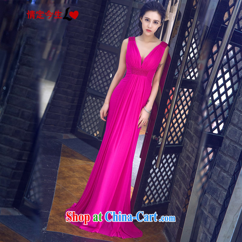 Love Life Korean Deep V for summer 2015 New Field shoulder solid-colored evening gown dress bridal wedding toast clothing bridesmaid serving the red XXL