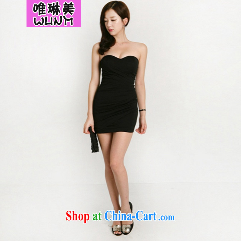 Only Lin Mei 2015 spring and summer new night Korean Beauty graphics thin sexy small dress solid wrapped chest dress - 8111 Athens black L
