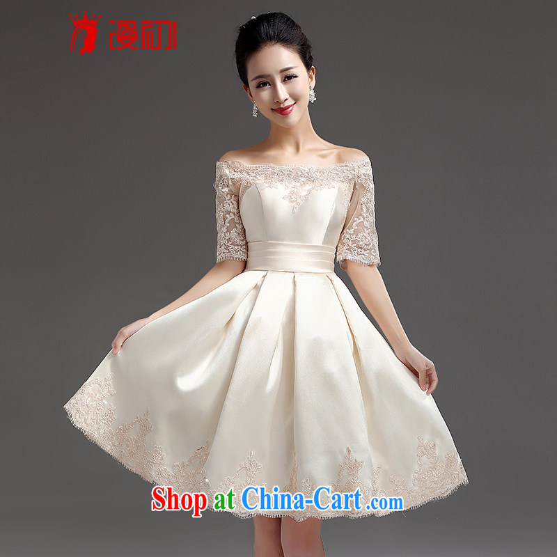 Early definition 2015 new bridesmaid short small dress dress bridal toast one field shoulder lace straps Princess skirt champagne color. The $20 does not support return
