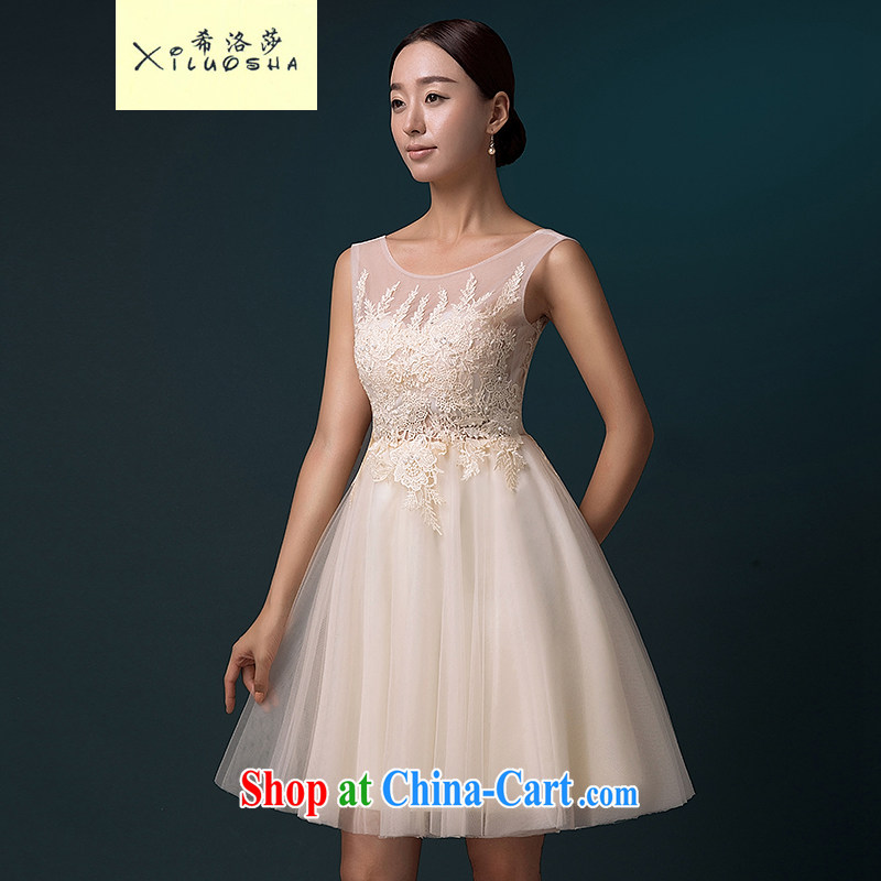 The Greek, Mona Lisa _XILUOSHA_ banquet dress 2015 new the wedding dress female small dress bridesmaid serving short summer bridal toast serving double-shoulder champagne color XXL