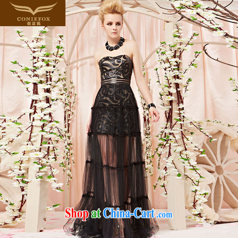 Creative Fox Evening Dress 2015 new personality Wipe Pattern chest dress banquet toast serving the annual evening dress long dress 30,305 picture color L