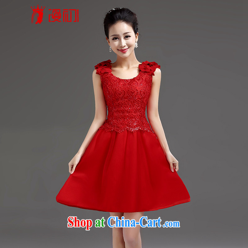 Early definition 2015 new bridesmaid short small dress dress bridal evening dress shoulders short lace Princess skirt red XXL