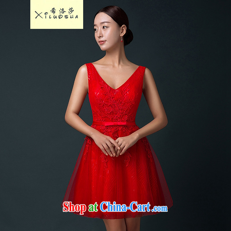 The Greek, Mona Lisa _XILUOSHA_ bridal toast service 2015 new women small dress summer double-shoulder wedding dress short sexy bows dress stylish red XXL