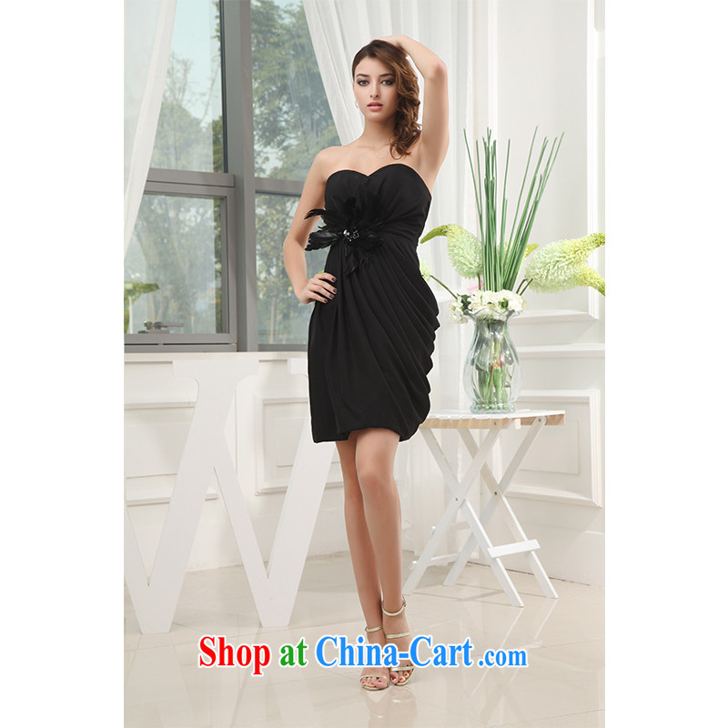 The beautiful yarn bare chest package and short skirts and stylish simplicity bridal toast shadow floor bridesmaid black dress sweet color change made 2015 New factory direct mail packages