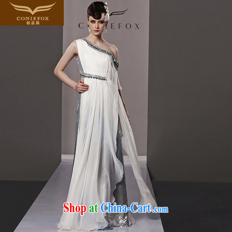 Creative Fox Evening Dress continental retro stage service banquet sexy single shoulder evening dress dress long skirt annual meeting moderator dress dresses 81,192 pictures color XL