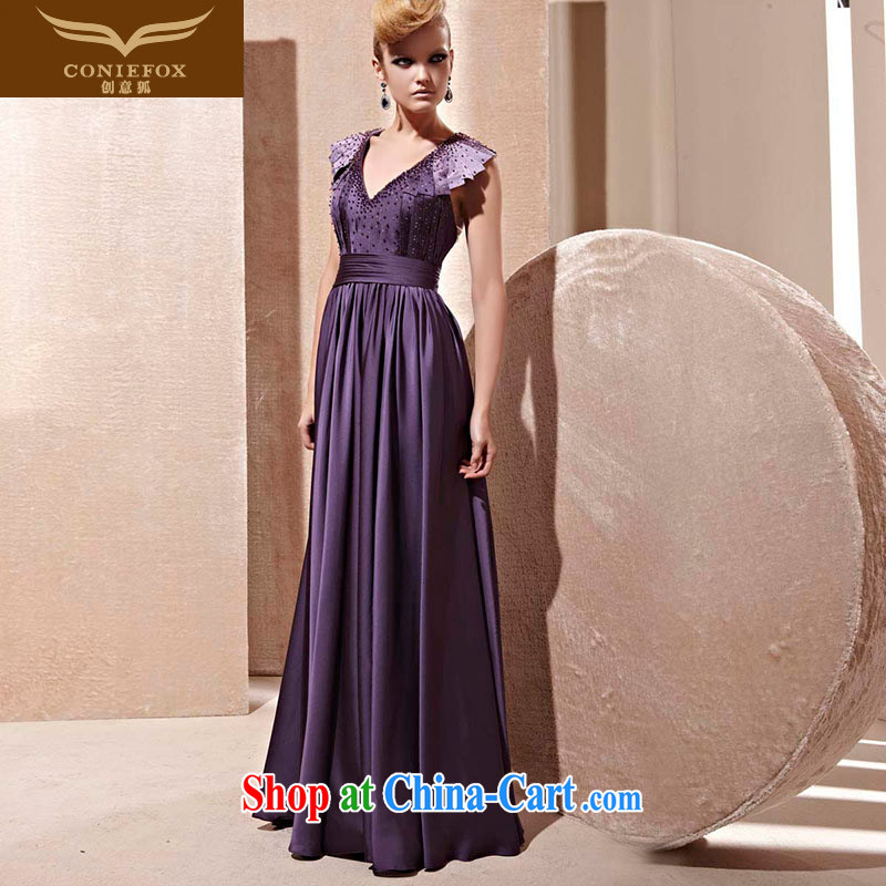 Creative Fox Evening Dress 2015 new sexy deep V dress purple noble long bows service banquet moderator dress 81,255 picture color XXL