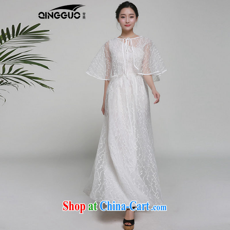 Bamboo incense, the 2015 spring and summer new dresses Evening Dress dragging long skirt embroidered 7008 white S
