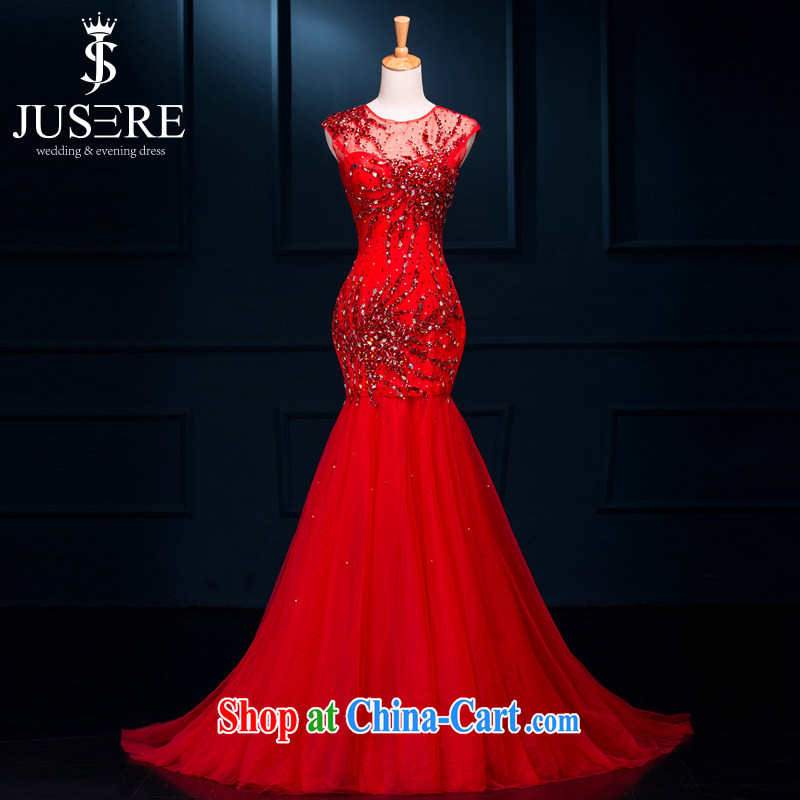 It is the JUSERE high-end dress 2015 spring and summer new dual-shoulder-neck Korean long small-tail bridal toast service banquet Evening Dress stylish Chinese red high-end custom contact Customer Service