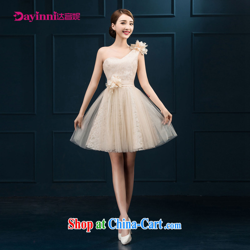 Short Evening Dress 2015 new marriages champagne color bridesmaid dress single shoulder small dress girls white XXL