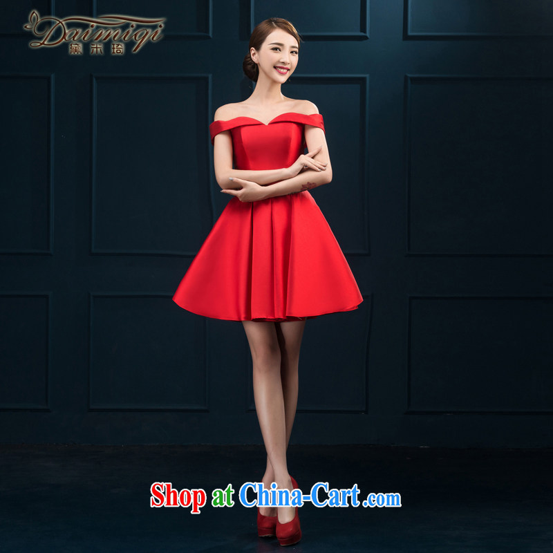 The field shoulder banquet dress 2015 new short Evening Dress summer dress party girl bride toast clothing Red Red XXL