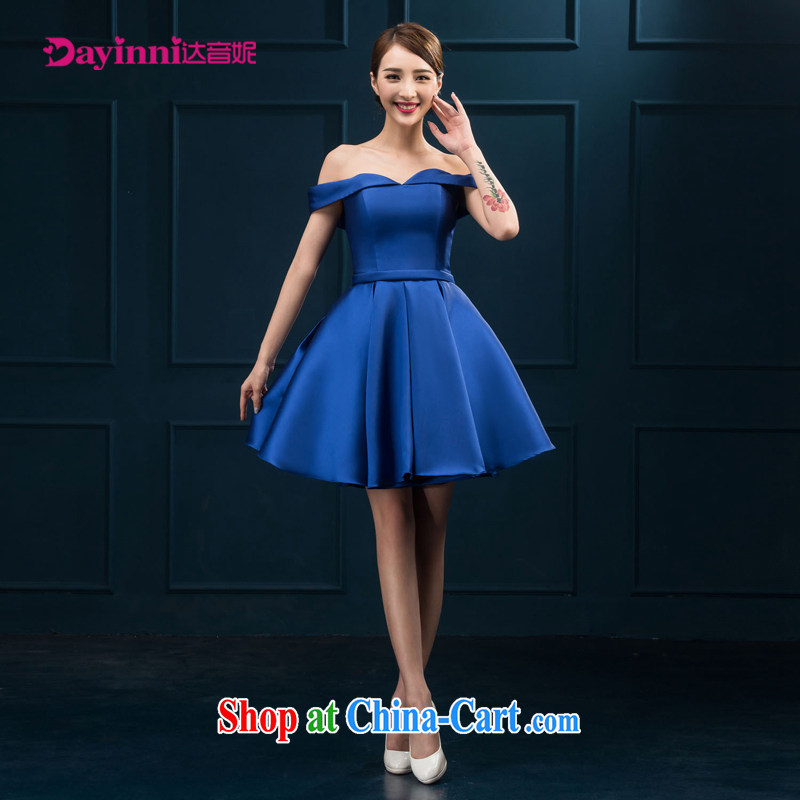 The field shoulder banquet dress 2015 new short Evening Dress summer dress party girl bride toast clothing red or blue XXL