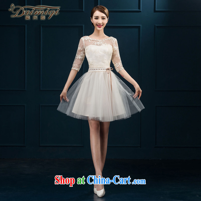 2015 new bridesmaid toast serving serving summer short sleeves in bridesmaid dress Evening Dress married women chairpersons dress girls white XXL