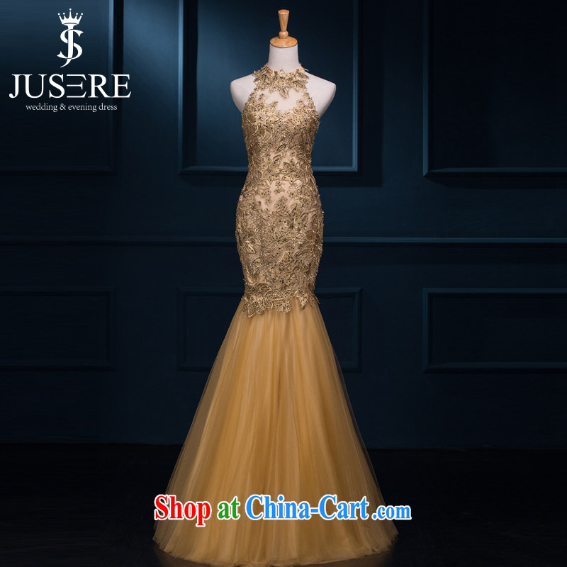 There is a dress JUSERE 2015 spring and summer new bride toast service beauty Ms. crowsfoot dress shoulders, courage empty dress banquet long Gold high-end custom contact Customer Service