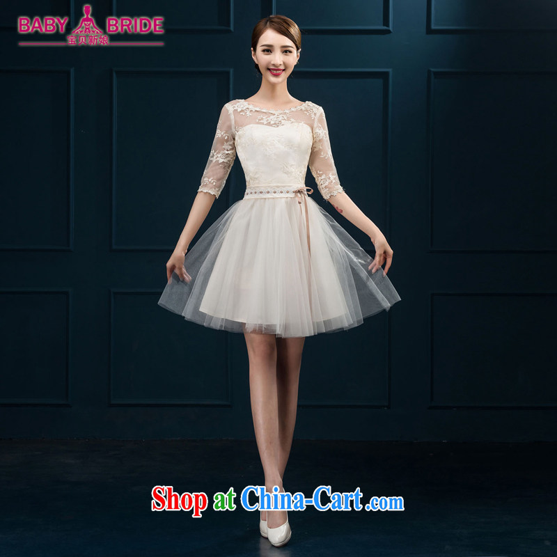 2015 new bridesmaid toast serving serving summer short sleeves in bridesmaid dress Evening Dress married women chairpersons dress girls white XL
