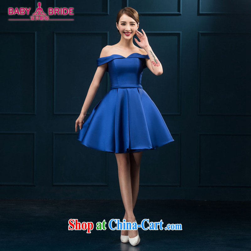 The field shoulder banquet dress 2015 new short Evening Dress summer dress party girl bride toast clothing red or blue XL