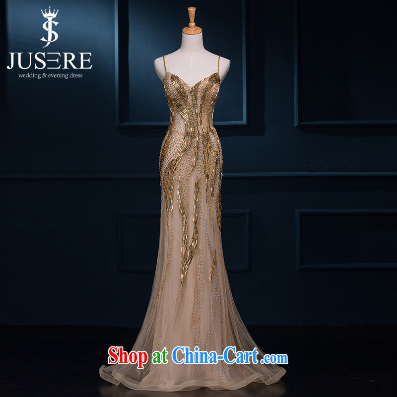 It is the JUSERE wedding dresses shoulders hanging dress summer 2015 new banquet moderator dress gold female long marriages served toast Gold high-end custom contact Customer Service