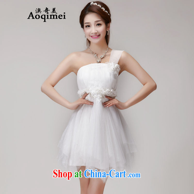 O, the US (Aoqimei) 2015 summer new bridesmaid dresses in banquet dress sister dress short dress small dress 955 white L