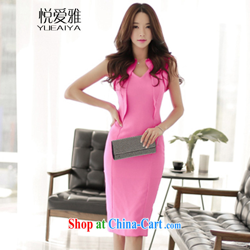 Yue love Ya 2015 new Korean women sense of flouncing V collar style package and dress the dress skirt DR 7623 peach L
