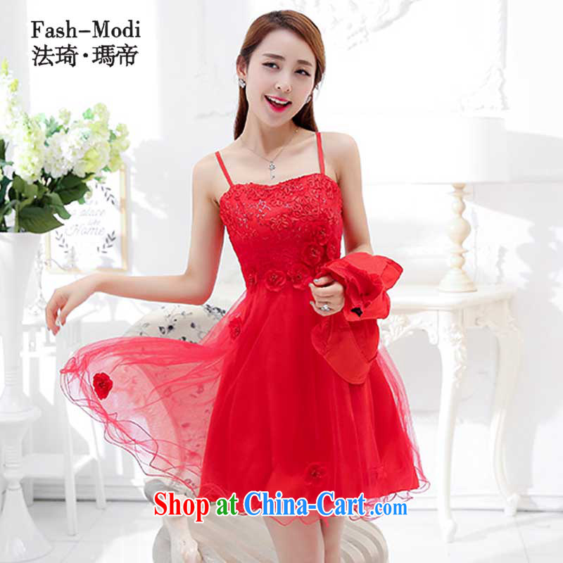 The ki Princess Royal 2015 new bridesmaid bridal wedding bows dress girls red long wedding dresses spring and summer, package wedding back door kit red 1752 D M