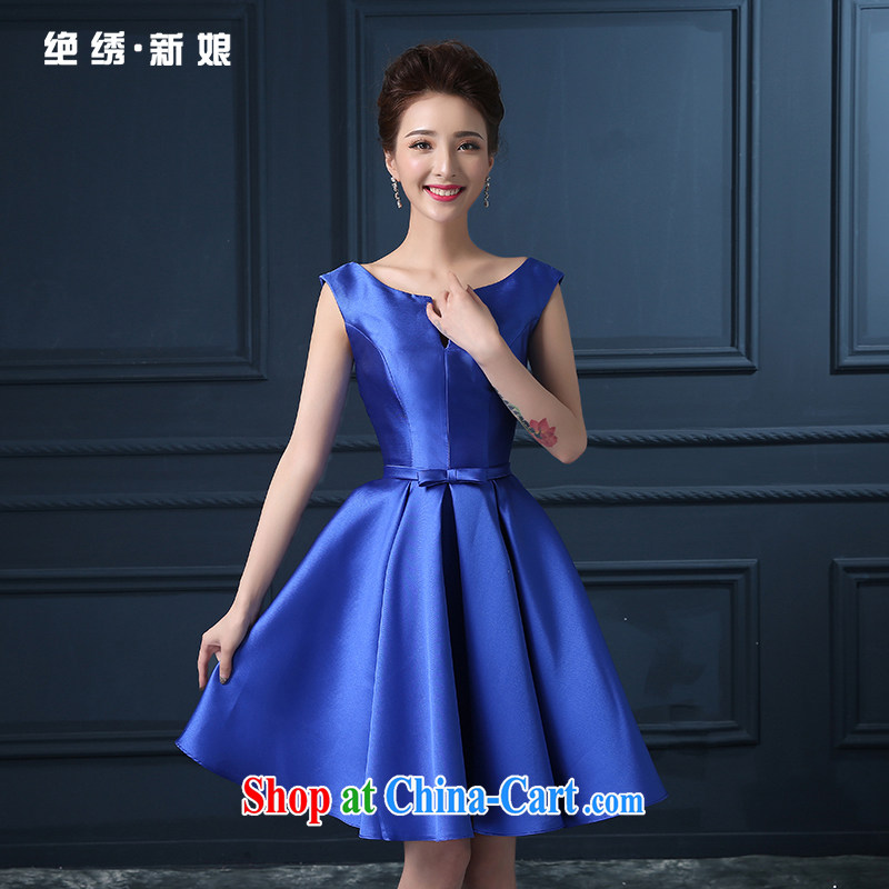 Summer 2015 new Korean double-shoulder short the code graphics thin bridal banquet dress bows beauty service blue S Suzhou shipping