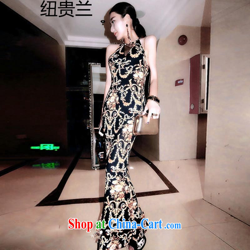 Khin Nyunt, the A 131 _ luxurious baroque wind is also fluoroscopy Web yarn tight package and crowsfoot beauty dress long skirt gold totem stamp are code