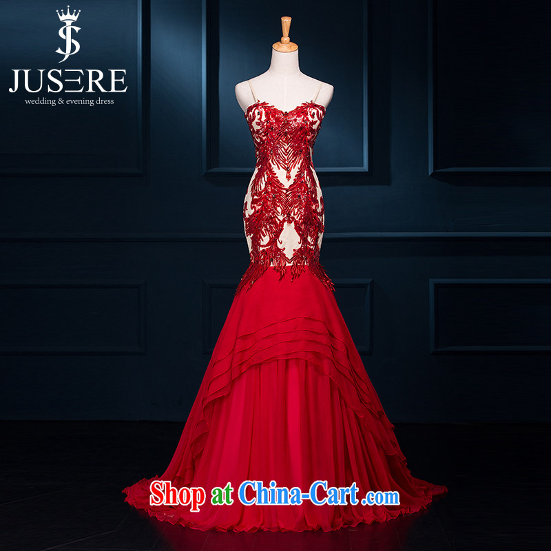 It is the JUSERE wedding dresses bridal toast service 2015 new banquet dress long dual shoulder straps back exposed embroidery Phoenix small tail 45 high-end custom contact Customer Service