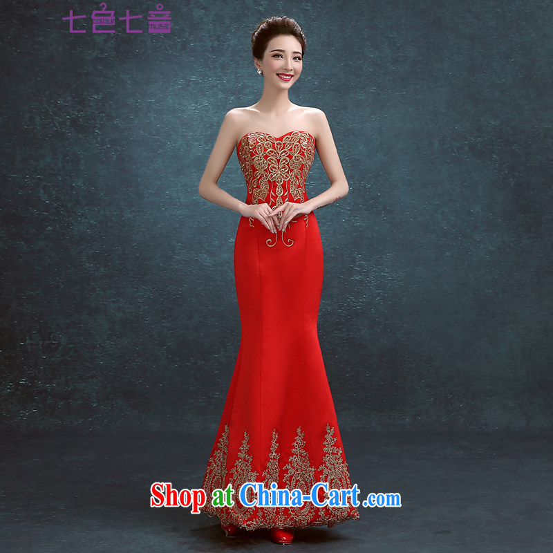 7-Color 7 tone Korean version 2015 new erase chest long marriages served toast short evening dress wedding dresses L 042 red tailored (without credit)