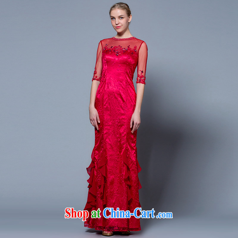 A yarn wedding dresses 2015 new custom package in his shoulder cuff bridal toast serving red 30250860 red M stock code 160 /84 A