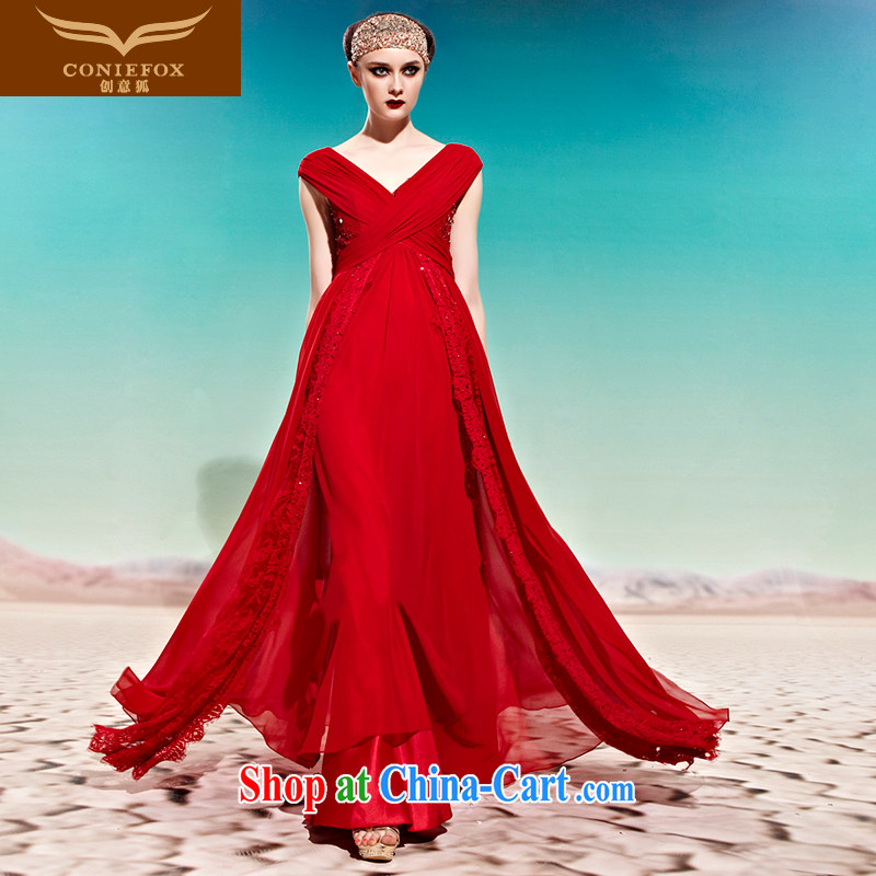 Creative Fox Evening Dress sexy Deep v red bridal wedding dress toast service banquet Evening Dress uniforms bridesmaid dress long dress 58,001 picture color XL