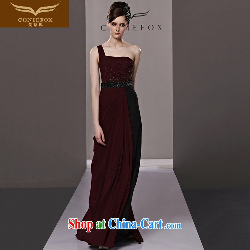 Creative Fox Evening Dress red dress bride toast winter clothing, shoulder long dress with elegant style chair annual dress 81,335 picture color XXL