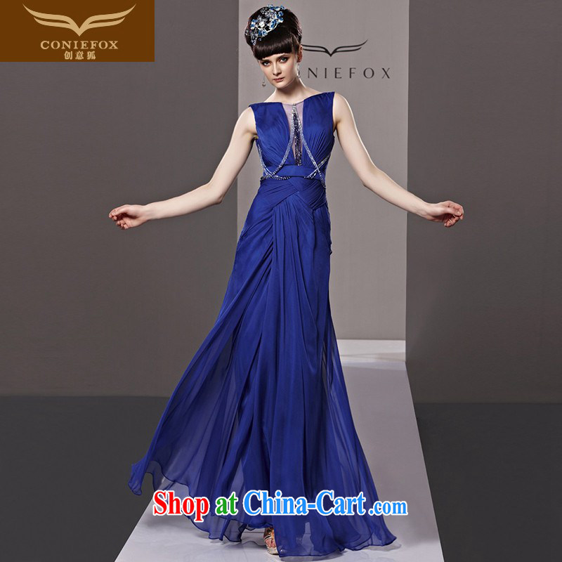 Creative Fox Evening Dress blue bows. Stylish and elegant long bridesmaid dress dress in Europe banquet evening dress dress annual dress presided over 81,328 picture color L