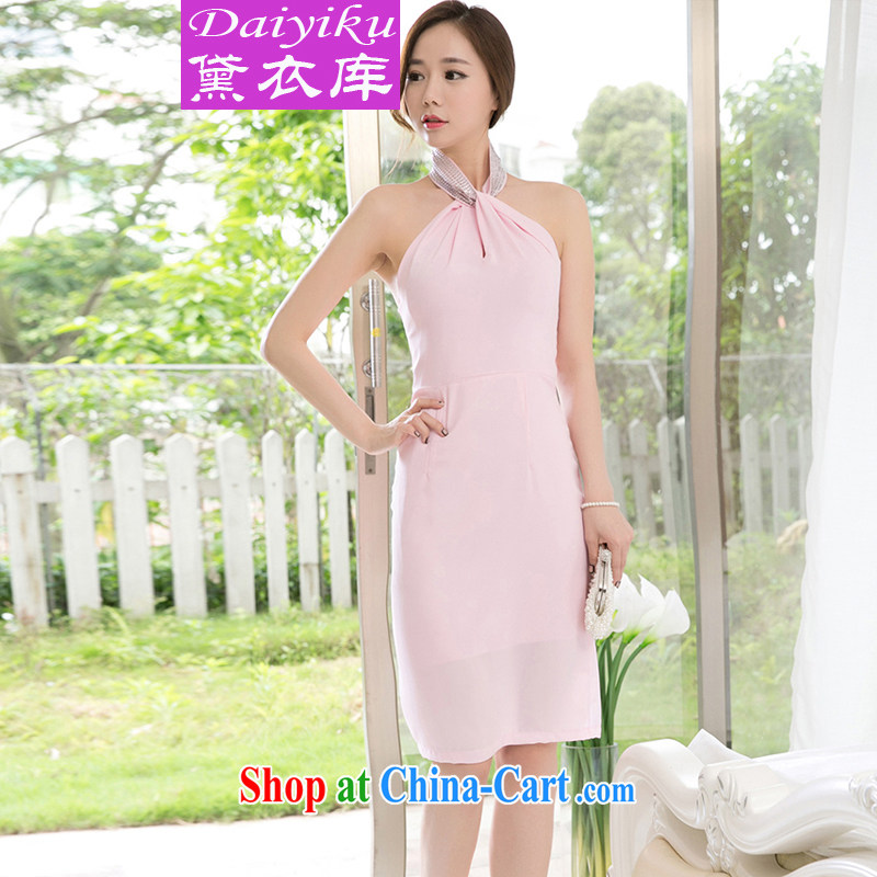 Diane Yi Library 2015 summer new Korean style beauty female OL sexy mount also dresses package and dress long skirt pink S