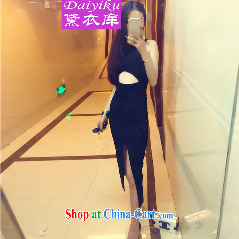 Diane Yi Library 2015 sense of the forklift truck back terrace style beauty dress dress black are code