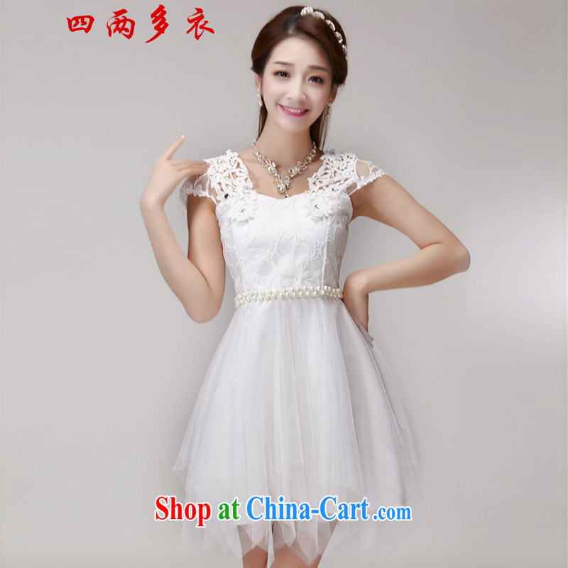 42 multi-yi 2015 summer buds silk yarn name Yuan Princess elasticated waist sweet temperament Princess dress 1648 white L