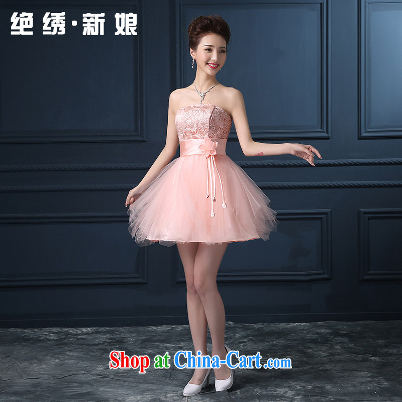 Summer 2015 new Korean version double-shoulder bridesmaid short bridal wedding banquet dress pink set is not returned.