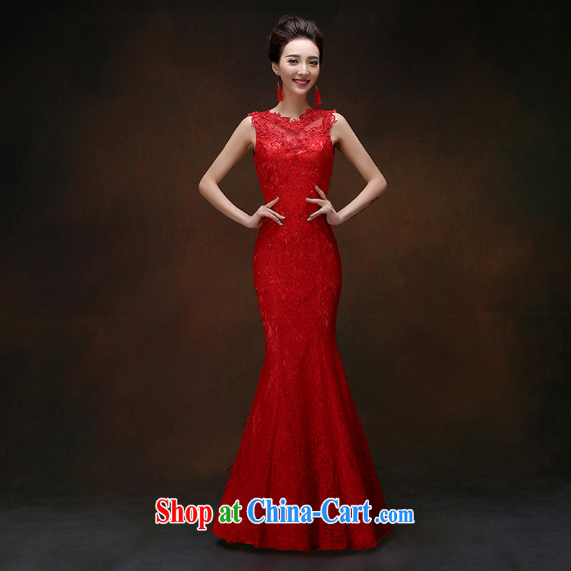 Snow Lotus wedding dresses bridal toast dress stylish bridal red toast serving long spring and summer lace crowsfoot cultivating tie dress red XXL