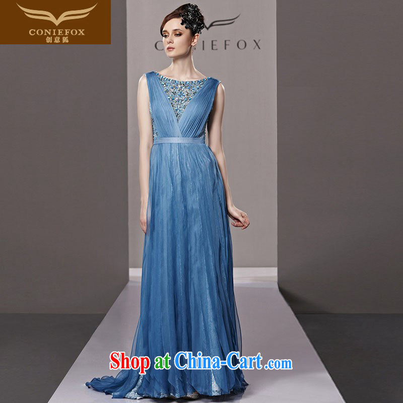 Creative Fox dress banquet blue long-tail dress wedding dresses new toast clothing luxury parquet drill evening dress dress dress 81,321 picture color M