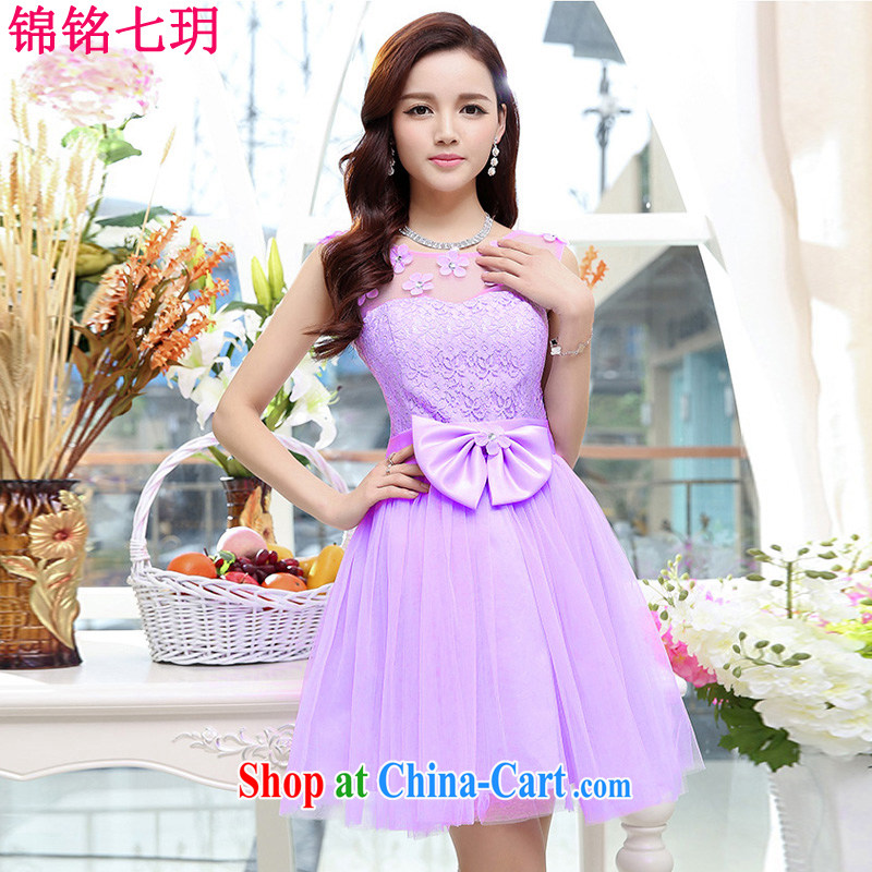 Kam Ming Yin Yue 7 summer 2015 new only the US wedding dresses serving toast dress banquet service, short purple XL