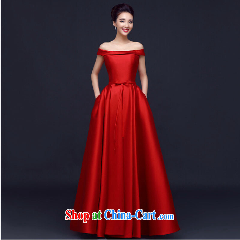 banquet dress long, 2015 new spring bridal toast Service Annual Meeting of the persons chairing wedding dress a field shoulder female Red long L