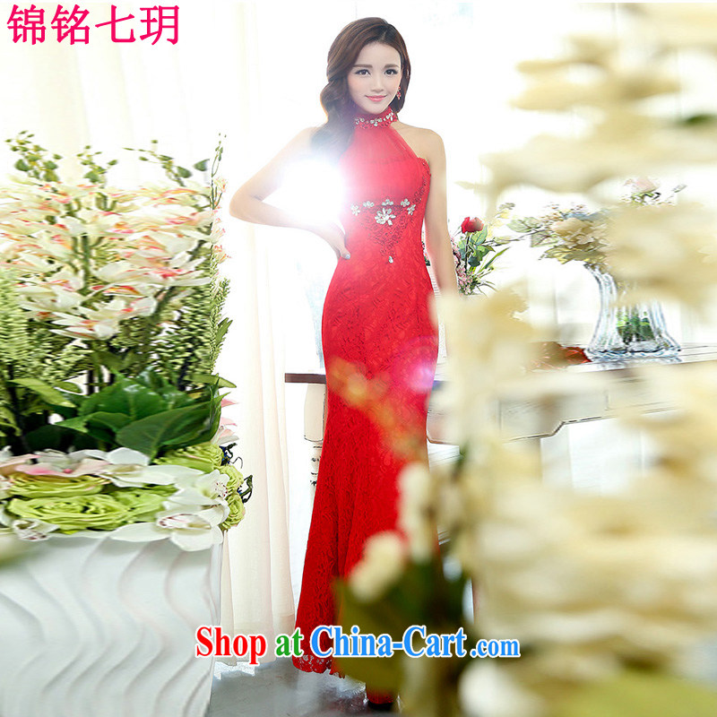 Kam Ming Yin Yue 7 summer 2015 new, only the US style dress uniform toast dress banquet service, long red XL