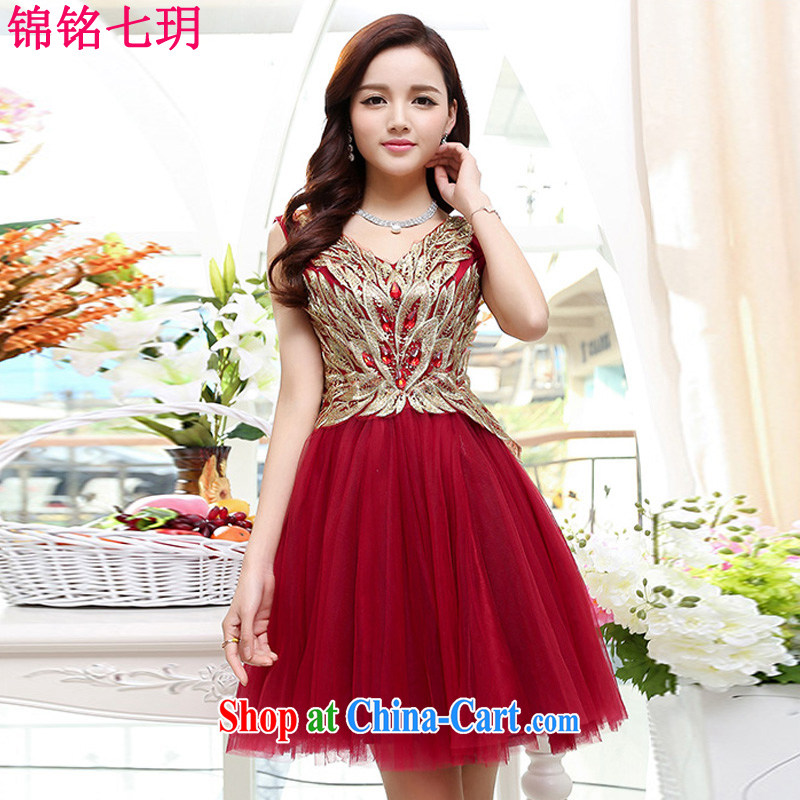 Kam Ming Yin Yue 7 summer 2015 new marriages embroidery luxury wedding dresses serving toast dress, short, red wine L