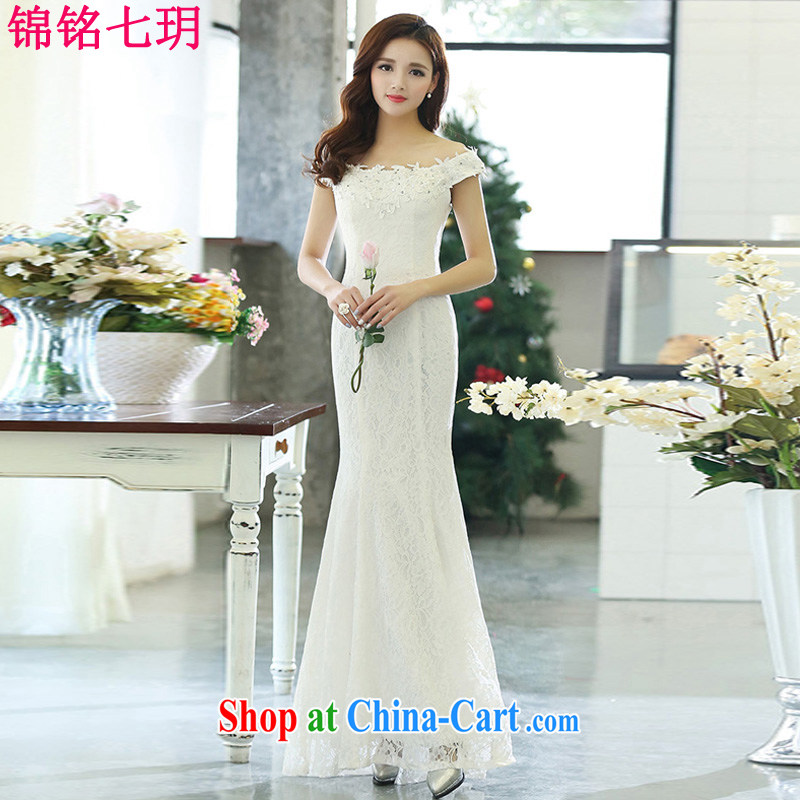 Lee Yin Yue 7 summer 2015 new only sexy wedding dresses serving toast dress banquet service, your shoulders white XL