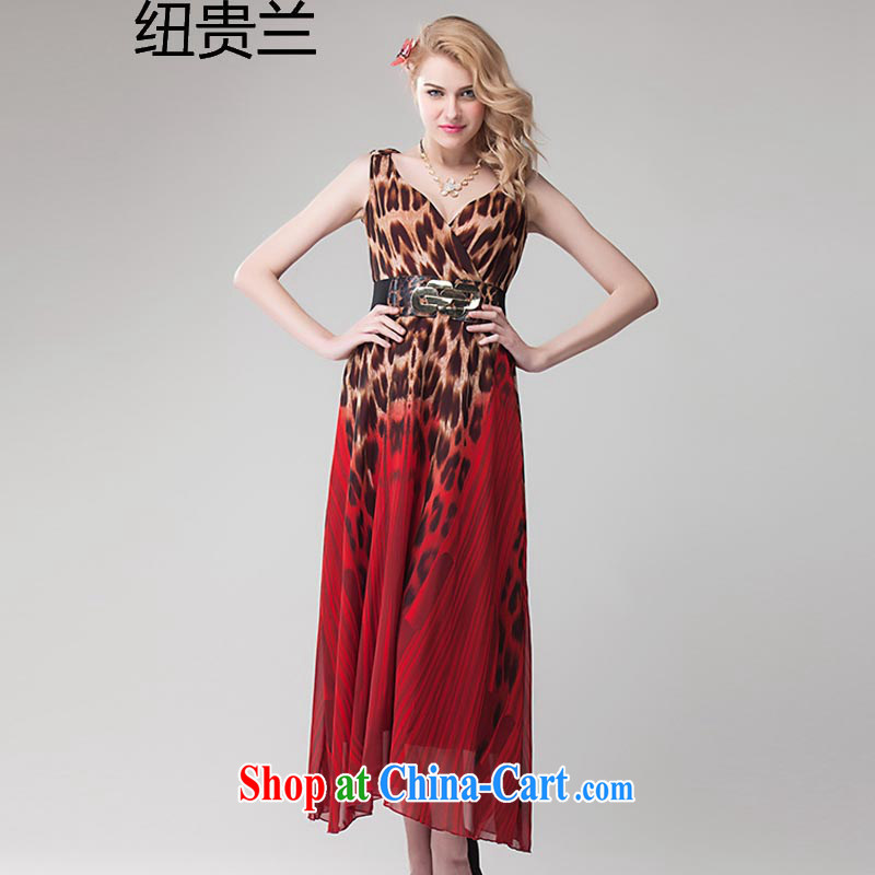 The Newmont, 8393 #2015 Europe spring and summer new Leopard gradient sexy dress skirt the long skirt red L