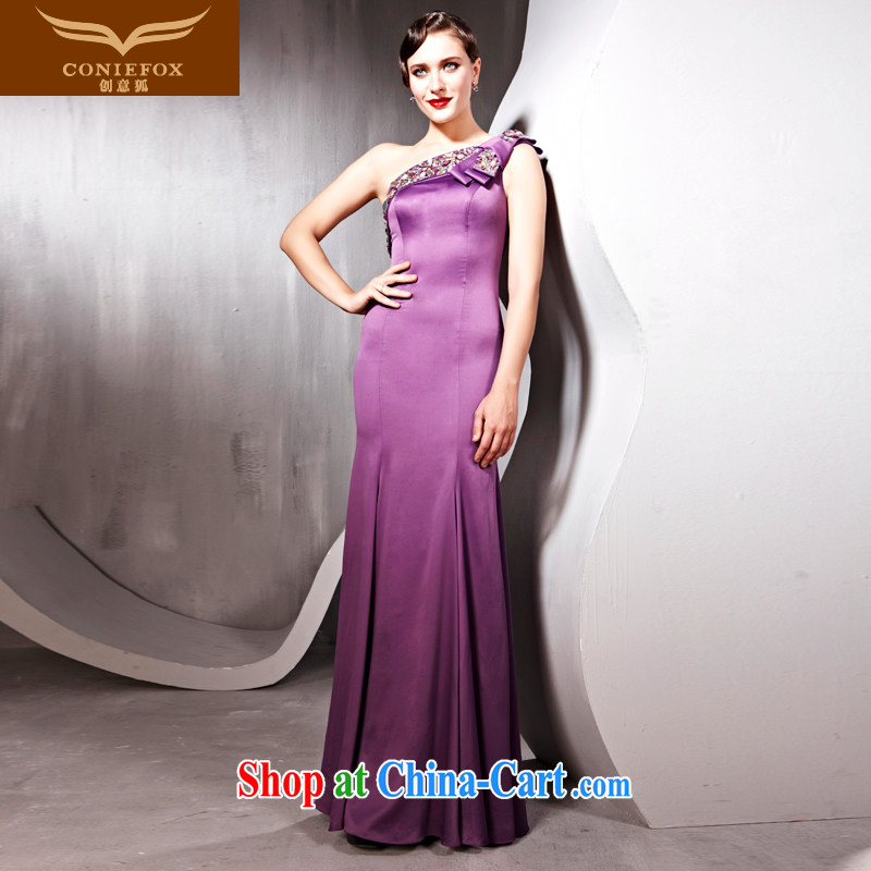 Creative Fox dress single shoulder elegant long evening dress banquet beauty evening dress uniform toast hosted annual dress with dress 56,566 purple M