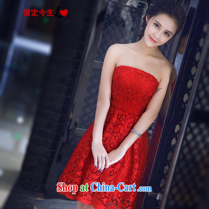 Love Life Korean version 2015 summer new retro water-soluble lace bare chest short shaggy dresses red bridal toast clothing red S